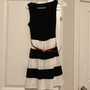 Black and White Dress with red belt